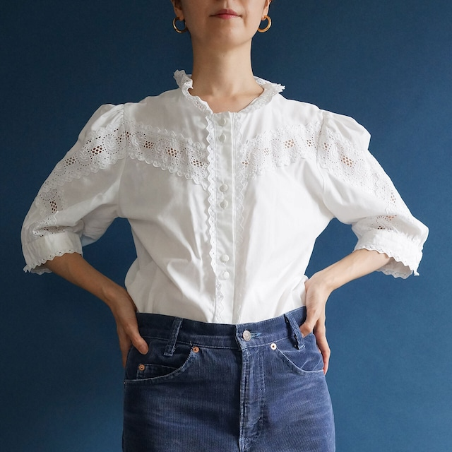 【送料無料】80's-90's Vintage cotton folk ruffle frilly blouse(80年代 アンティーク 古着 レース パフスリーブ ショートスリーブ ブラウス)