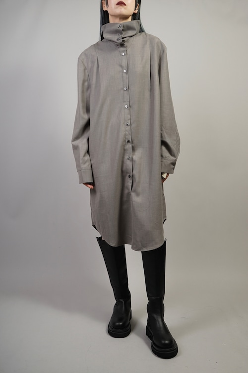 FRONT BUTTON 2WAY NECK DRESS (GRAY) 2109-93-67