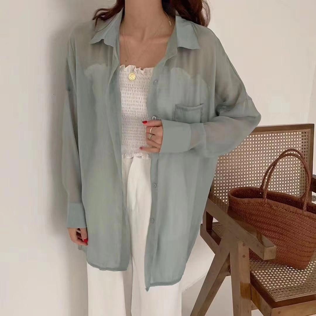 【即納】シアーシャツ(アイボリー・ピンク・グリーン・ブルー)| シフォン シャツ シースルーシャツ