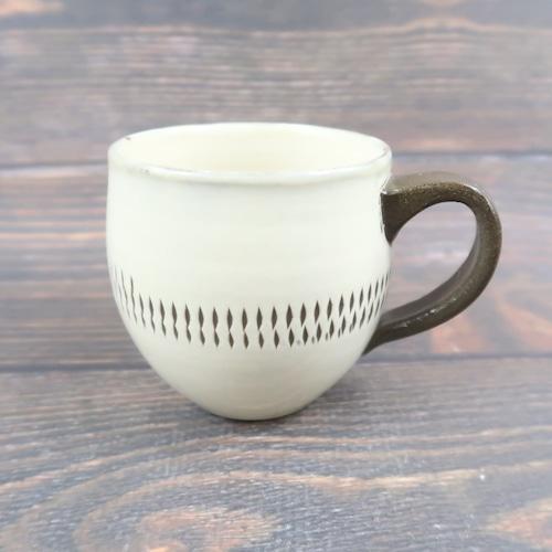 小鹿田焼 手つきフリーカップ 白トビ 小袋定雄窯