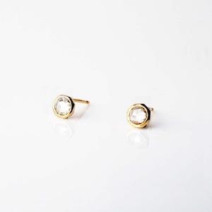 Rose Cut Diamond Pierced Earring / Pair( E270-YD)