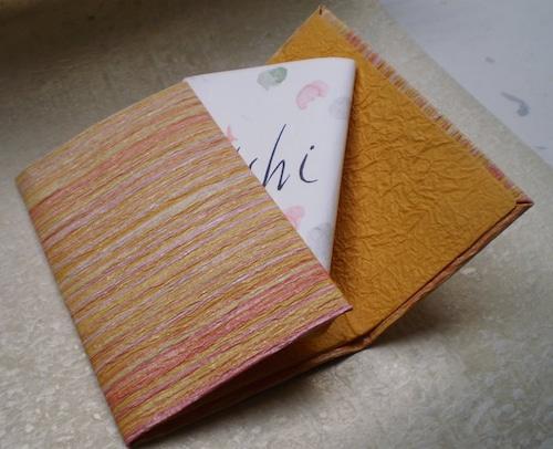 和紙の御懐紙入れ「縞」橙
