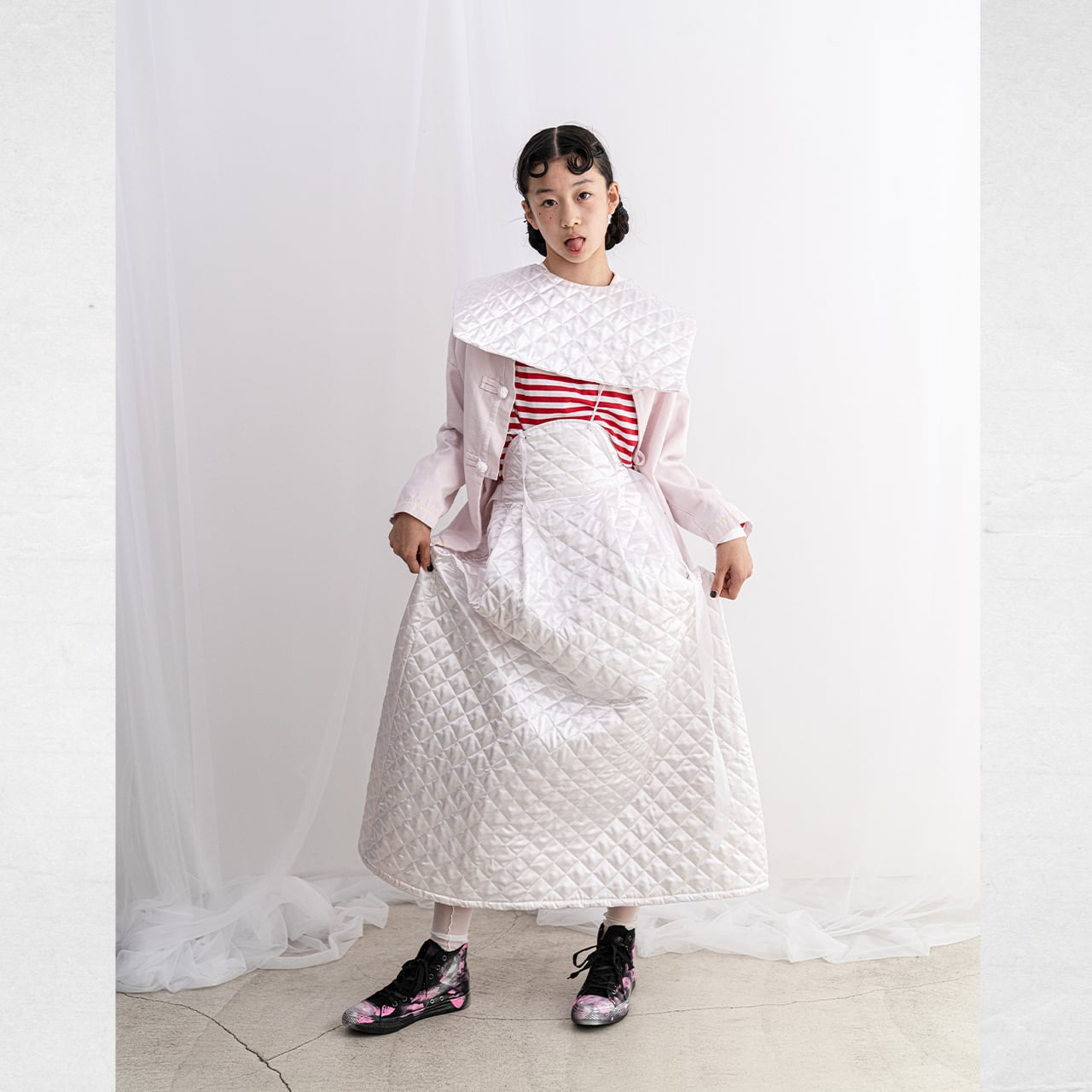 REMOVABLE QUILTING SAILOR COLLAR L/S TEE / WOMEN