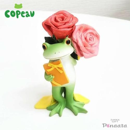 【Copeau】コポー バラとプレゼントを持つカエル
