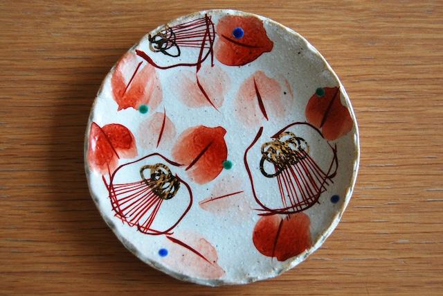 豆皿 赤絵椿