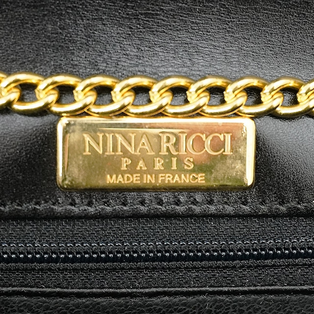 【MADE IN FRANCE】NINA RICCI ブラック クロスボディバッグ