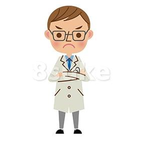 イラスト素材:腕組みをする医者・ドクター(ベクター・JPG)