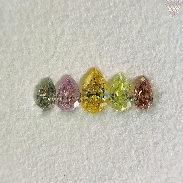 合計  0.73 ct 天然 カラー ダイヤモンド 5 ピース GIA  3 点 付 マルチスタイル / カラー FANCY DIAMOND 【DEF GIA MULTI】