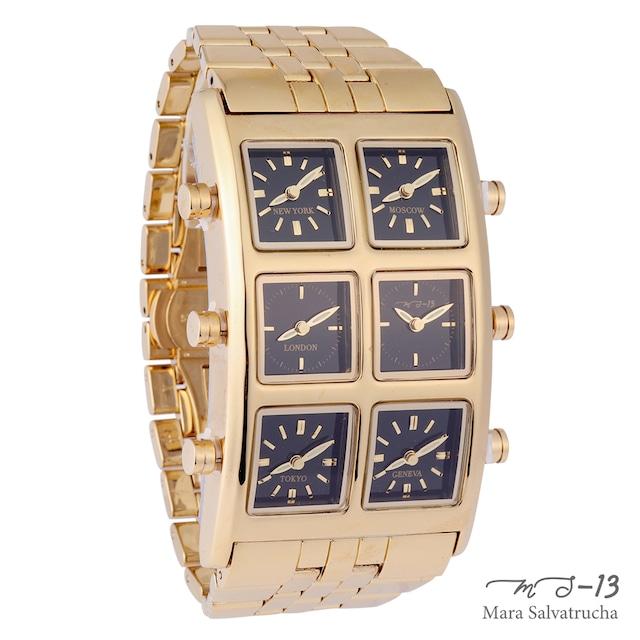 [世界限定100本]【MS-13】腕時計 6TIME ZONE シックスタイムゾーン (カラー:ゴールド×ブラック)