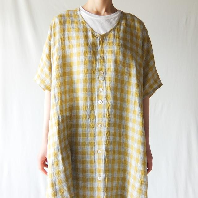 Vlas Blomme - Scenery Linen Check アシンメトリーポケット前開きワンピース - Yellow