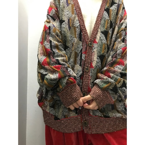 90's st.croix knit cotton 総柄コットンニットカーディガン
