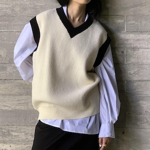Piping loose vest( パイピングルーズベスト)b-444