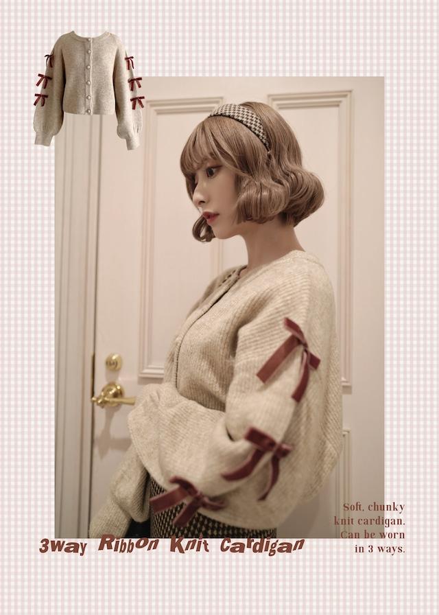 original 3way ribbon knit cardigan - BEIGE