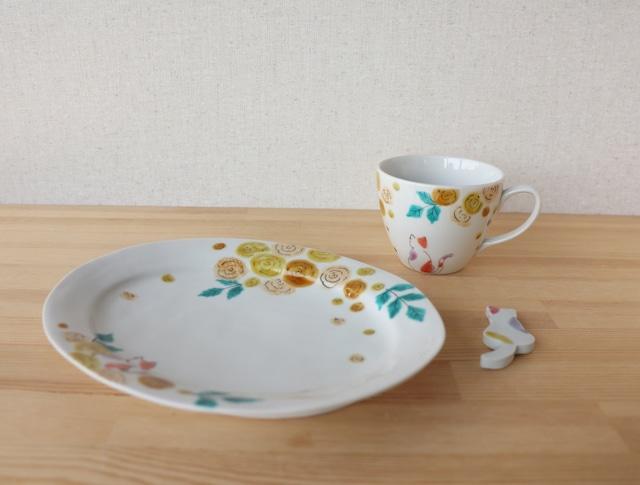 モッコウバラとみーちゃん だえん皿とマグカップ