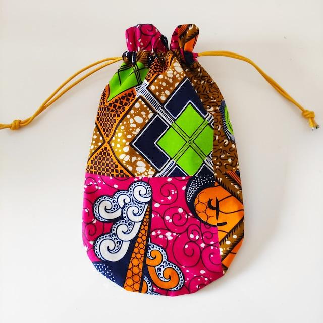 アフリカンファブリック お財布袋 ABCD−URVW巾着 アフリカンプリント