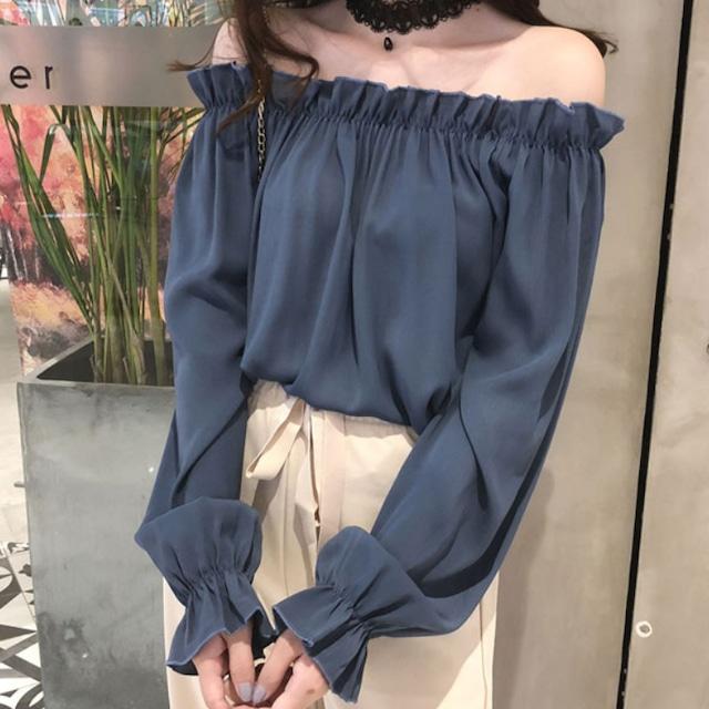 【トップス】韓国の人気爆発プルオーバーギャザー飾りボートネックブラウス51869252