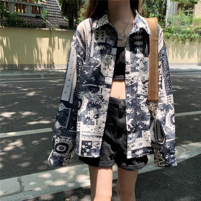 【トップス】韓国系プリント長袖POLOネックシングルブレストシャツ43009206