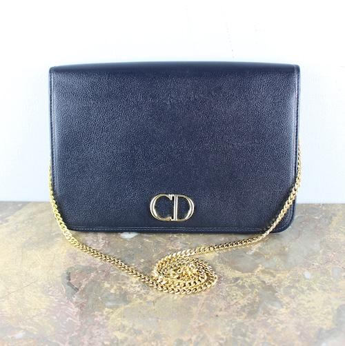 .Christian Dior LOGO LEATHER CHAIN SHOULDER BAG MADE IN FRANCE/クリスチャンディオールロゴレザーチェーンショルダーバッグ2000000050034