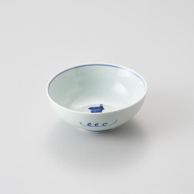 """【青花】""""クラシック異人"""" 4寸ボウル(カール紅毛人)"""