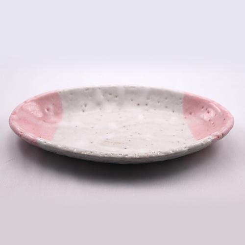 桃志野 楕円皿 大  Pink Shino Elliptical Dish LARGE