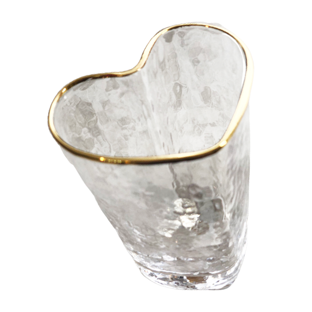 Gold line glas heart grass / ゴールドラインガラスハートグラス