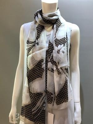 LARIOSETA(ラリオセタ)OK542/21602 Col.003(Beige)xBrown Printed イタリア製  シルクシフォンプリントスカーフ