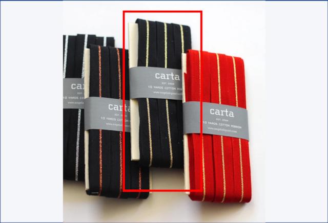 Metallic line tight weave ribbon   wood paddle 10 Yards black/gold【Studio Carta】/コットンリボン スタジオカルタ ブラック・ゴールド