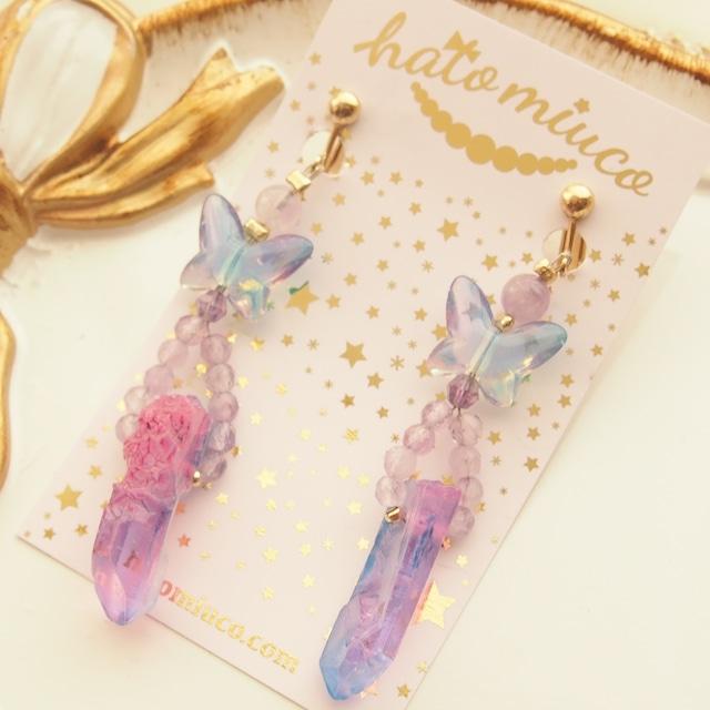 【11/25 20:30-】ファンシー水晶ポイントと蝶々の耳飾り