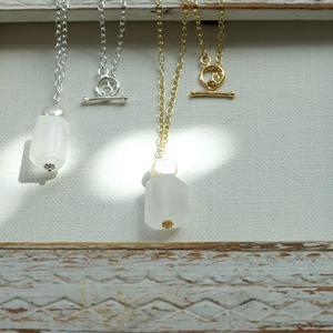 4月、6月の誕生石 真珠と氷柱クリスタルネックレス かに座の石 *kitt