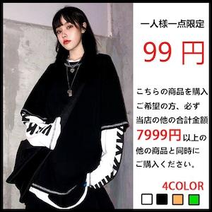 99円スーパーセール限定商品【トップス】シンプルカジュアル切り替え男女通用Tシャツ42161225