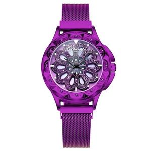 レディースウォッチトップラグジュアリーファッションレディースMIYOTAクォーツムーブメント腕時計ステンレススチールバンドドレス防水RelojMujer602-purple