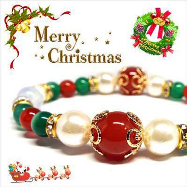 【Happy Xmas♪】天然石カーネリアン&オパール クリスマスデザインブレスレット(10mm)★