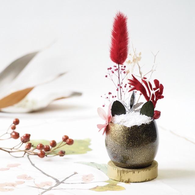 花の猫型盆栽「タマゴノコネコ」(強そうな黒・高貴なキリっとした赤)