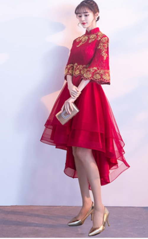 チャイナ風フィッシュテールドレス ショート丈 ラッパ袖 刺繡 レトロ 二次会 パーティー お呼ばれ wb045