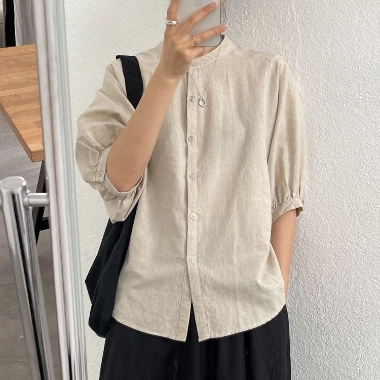 Cotton linen loose sleeve shirt(コットンリネンルーズスリーブシャツ)b-209