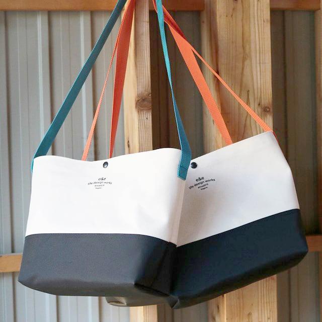 PVC帆布ミュゼットバッグ(WHITE×BLACK)