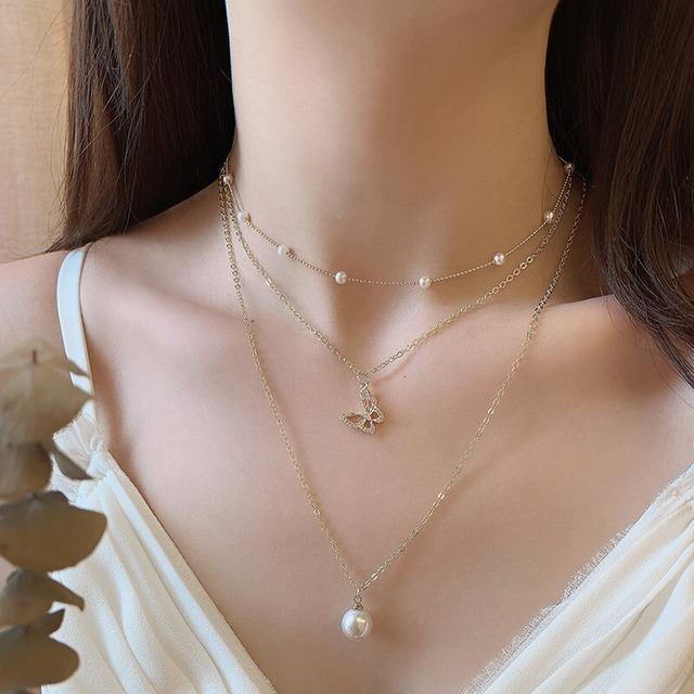 アクセサリー ネックレス 3点セット 胡蝶  真珠 特別なデザイン 視線集中