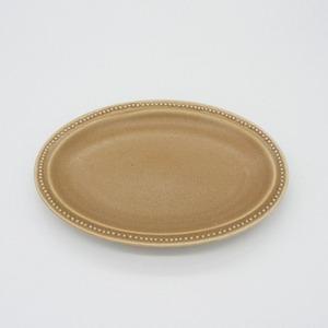 パンとごはんと... (Bread and Rice) RIM DOTS OVAL PLATE (リムドット オーバルプレート) Sサイズ 【モカ】