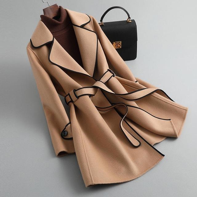 【アウター】個性的なデザイン 配色 ファッション ベルト付き 折り襟 デート トレンチコート-1-53905487
