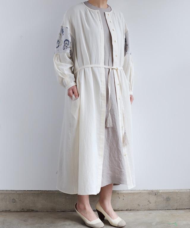 ビオラ刺繍の切り替えワンピースドレス(mub604)