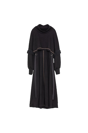 フリンジスリーブニットドレス< black >