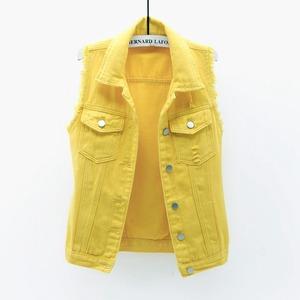 1300レディース デニム ベスト  チョッキ女性 秋 春 ノースリーブ デニムジャケット Gジャン ジーンズ イエロー 黄色