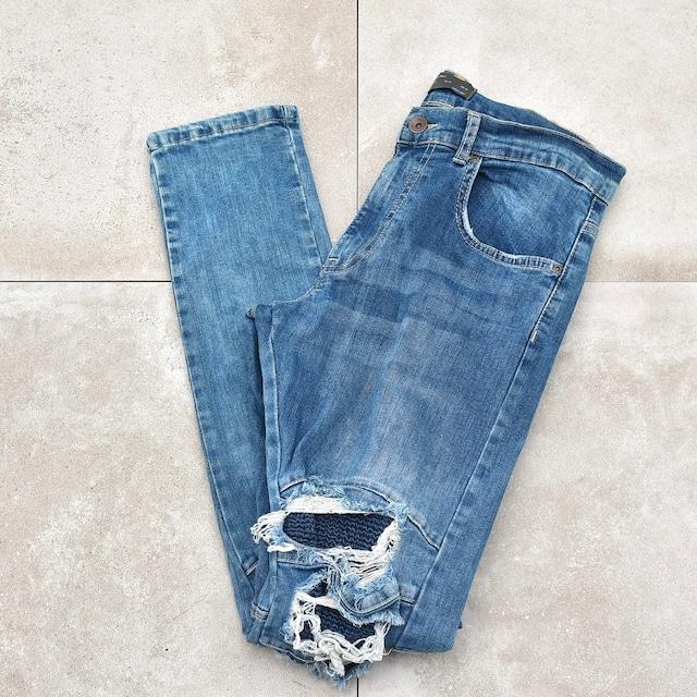 ZARA deformation skinny denim pants