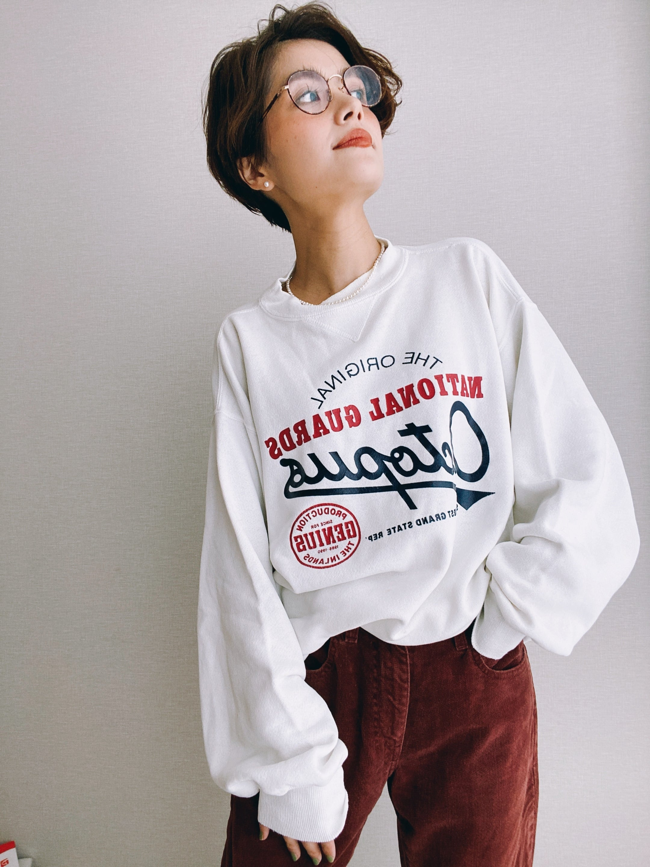 (CS352)80's Hanes printed sweat made in USA
