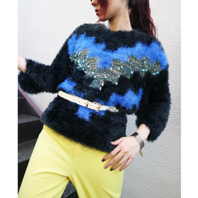 Euro shaggy knit sweater【Black × blue】