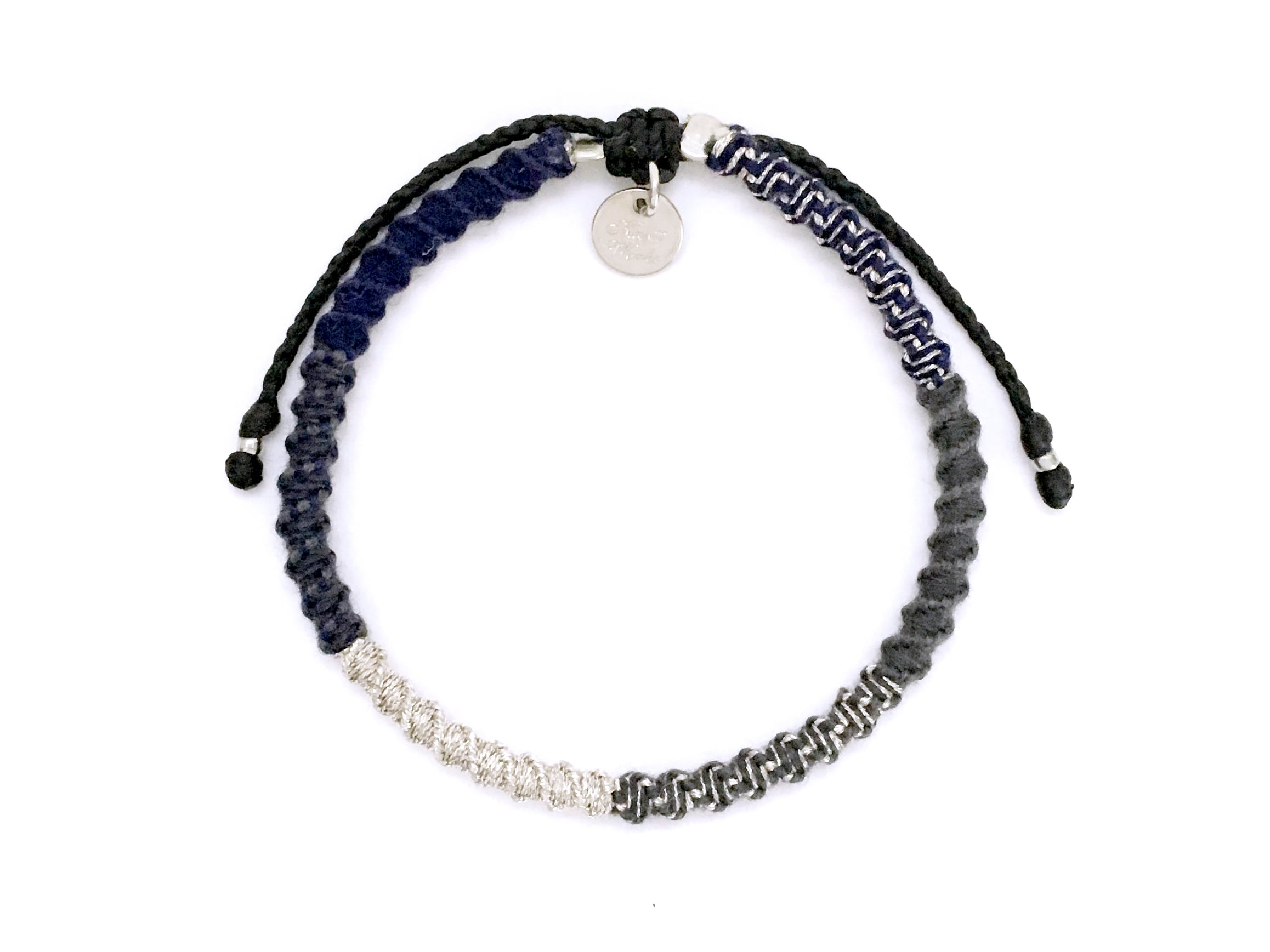 Check Patterned Bracelet/Navy Silver[チェック柄ミサンガブレスレット]