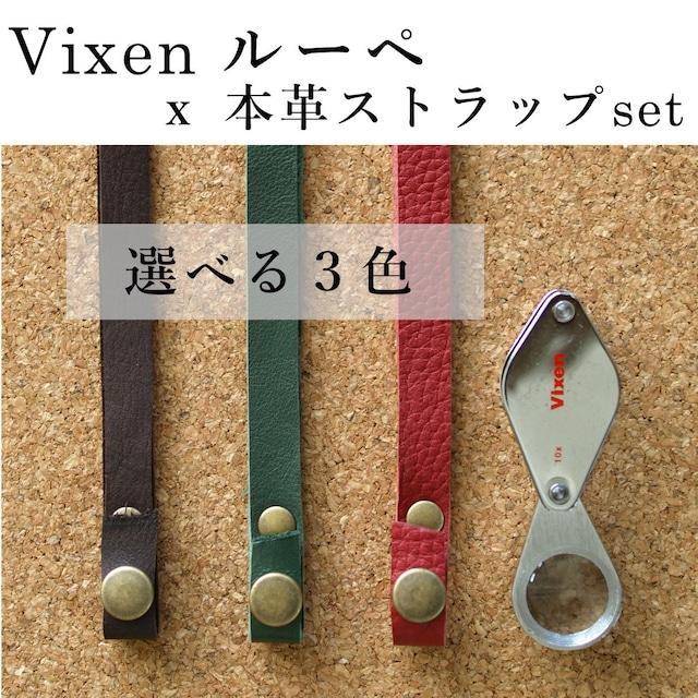 【コケ観察用】Vixen メタルフォルダールーペ10倍 本革ストラップset