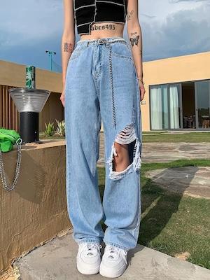 side damage cut pants