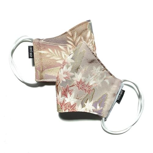【レディース和柄マスク 高級留袖生地使用 日本製】 高級和柄マスク2枚セット lw01
