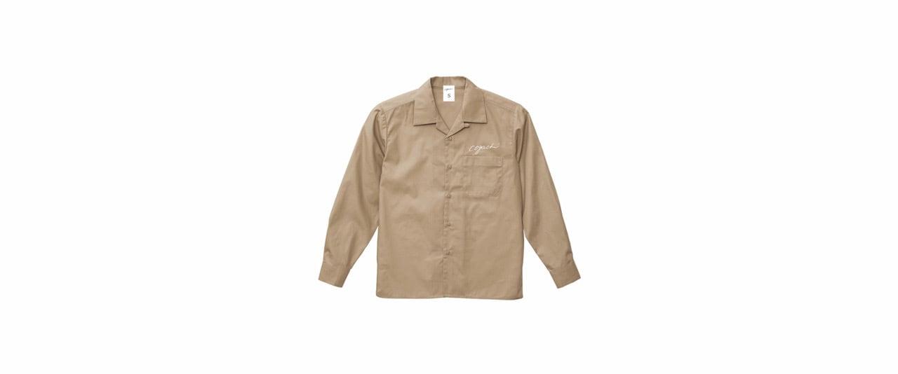 coguchi open collar shirt (BEG/WH)